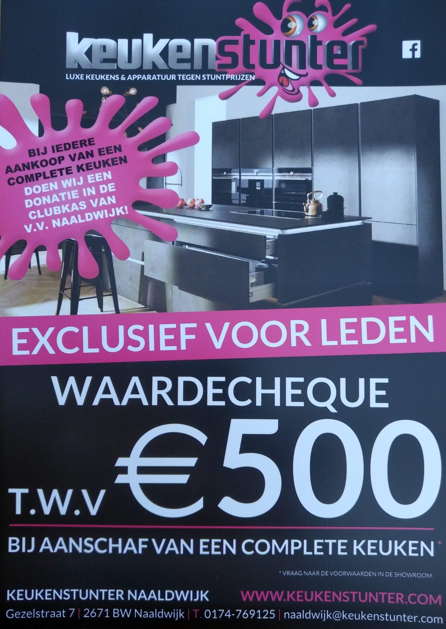 Keukenstunter Naaldwijk laat vv Naaldwijk leden profiteren en wordt tevens sponsor.